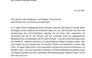 Corona-Schulinformation (15.06.2021)